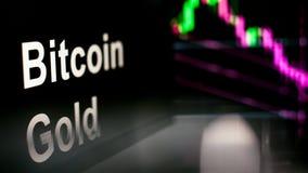 Segno di Cryptocurrency dell'oro di Bitcoin Il comportamento degli scambi di cryptocurrency, concetto Tecnologie finanziarie mode illustrazione di stock