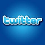segno di 3D Twitter su fondo blu Fotografie Stock Libere da Diritti