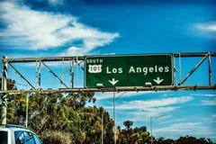 Segno di destinazione dell'autostrada senza pedaggio di Los Angeles 101 Fotografie Stock