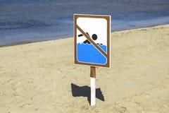 Segno di divieto di nuotata sulla spiaggia Immagini Stock Libere da Diritti
