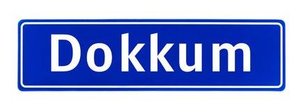 Segno di Dokkum, Paesi Bassi di limite di città Immagini Stock