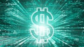 Segno di dollaro americano luminoso sul fondo della città di notte immagini stock libere da diritti