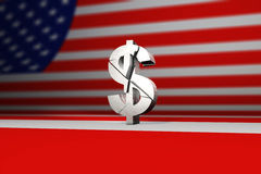 Segno di dollaro americano rotto o rotto Fotografia Stock