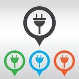 segno di elettricità dell'icona della spina perno della mappa dell'icona Immagine Stock Libera da Diritti