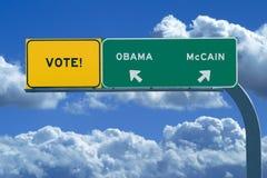 Segno di elezione presidenziale 2008 - voto immagini stock