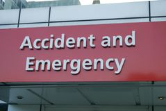 Segno di emergenza e di incidente hodpital Fotografia Stock