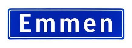 Segno di Emmen, Paesi Bassi di limite di città fotografie stock