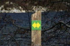 Segno di escursione del percorso per il pedone, lungo il lago annecy, la Francia immagini stock libere da diritti