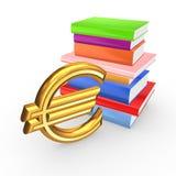 Segno di euro e libri variopinti. Fotografie Stock