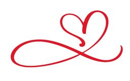 Segno di flourish di amore del cuore per sempre Il simbolo romantico dell'infinito si è collegato, si unisce, passione e nozze Mo illustrazione di stock