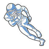 Segno di football americano Un funzionamento del giocatore con la palla Immagini Stock