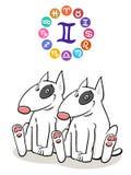 Segno di Gemini Zodiac con il cane del fumetto royalty illustrazione gratis