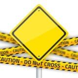 Segno di giallo della strada di vettore con la striscia gialla della polizia Vect realistico Fotografia Stock
