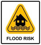 Segno di giallo di disastro di inondazione - alloggi ed onde sul segno giallo isolato su fondo bianco Immagine Stock Libera da Diritti