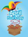 Segno di giorno dei pesci d'aprile con il cappello del giullare Immagini Stock