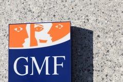 Segno di GMF su una parete Fotografia Stock Libera da Diritti