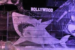 Segno di Hollywood dello squalo dei pannelli del ghiaccio immagini stock libere da diritti