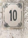 Segno di indirizzo di numero 10 Fotografia Stock