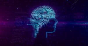 Segno di intelligenza artificiale su fondo digitale illustrazione vettoriale