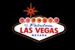 Segno di Las Vegas alla notte Fotografia Stock Libera da Diritti