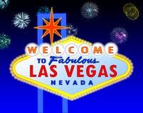 Segno di Las Vegas alla notte Immagini Stock Libere da Diritti