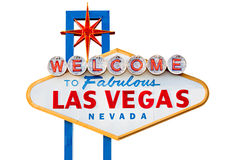Segno di Las Vegas isolato su bianco Fotografie Stock Libere da Diritti