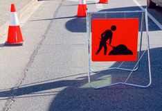 Segno di lavoro stradale Immagini Stock Libere da Diritti