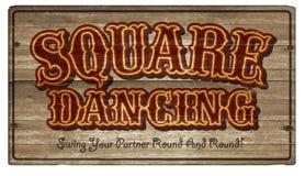 Segno di legno Art Announcement di dancing di ballo quadrato fotografia stock