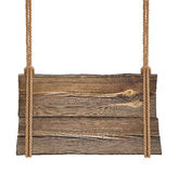 Segno di legno che appende sulla doppia corda Fotografie Stock