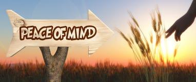 segno di legno che indica pace dello spirito immagine stock libera da diritti