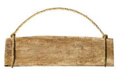 Segno di legno che pende da una corda Fotografia Stock