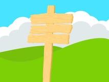 Segno di legno con il fondo di Rolling Hills Fotografie Stock Libere da Diritti