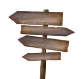 Segno di legno contro bianco Fotografia Stock Libera da Diritti
