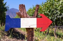 Segno di legno della bandiera della Francia con il fondo della cantina Immagini Stock Libere da Diritti