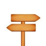 Segno di legno della freccia della direzione su fondo bianco Fotografia Stock