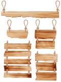 Segno di legno di vettore con l'attaccatura della corda Fotografia Stock