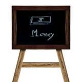 Segno di legno isolato su bianco immagine di affari di soldi di concetto Fotografia Stock