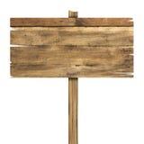 Segno di legno isolato su bianco Vecchio segno di legno delle plance Fotografia Stock