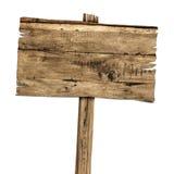 Segno di legno isolato su bianco Vecchio segno di legno delle plance fotografia stock libera da diritti