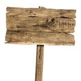 Segno di legno isolato su bianco Vecchio segno di legno delle plance Immagini Stock