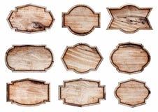 Segno di legno isolato su fondo bianco Fotografie Stock