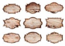 Segno di legno isolato su fondo bianco Immagini Stock