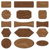 Segno di legno isolato su fondo bianco Progettazione del segno per struttura di legno Fotografia Stock Libera da Diritti