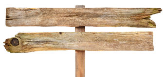 Segno di legno su bianco Fotografie Stock