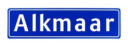Segno di limite di città di Alkmaar, Paesi Bassi fotografie stock
