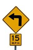 Segno di limite di velocità e di girata Immagine Stock