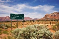 Segno di limiti di città della città del Colorado Fotografia Stock