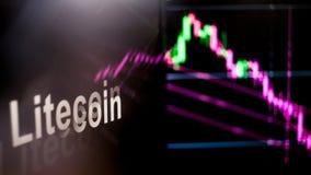 Segno di Litecoin Cryptocurrency Il comportamento degli scambi di cryptocurrency, concetto Tecnologie finanziarie moderne immagine stock libera da diritti