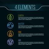Segno di logo del cerchio degli elementi della natura 4 Acqua, fuoco, terra, aria Su fondo scuro Fotografia Stock Libera da Diritti