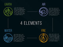 Segno di logo del cerchio degli elementi della natura 4 Acqua, fuoco, terra, aria Su fondo scuro Fotografia Stock